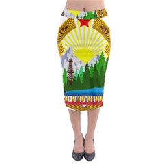 National Emblem Of Romania, 1965 1989  Midi Pencil Skirt by abbeyz71