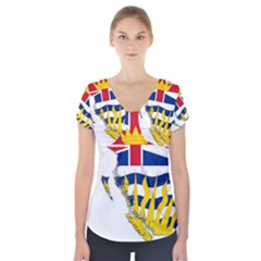 Flag Map Of British Columbia Short Sleeve Front Detail Top by abbeyz71