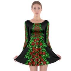 Sparkling Christmas Tree Long Sleeve Skater Dress by Valentinaart