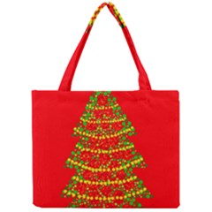 Sparkling Christmas Tree   Red Mini Tote Bag by Valentinaart