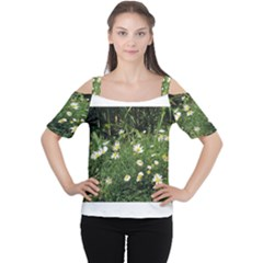 Wild Daisy Summer Flowers Women s Cutout Shoulder Tee by picsaspassion