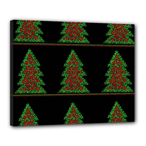 Christmas Trees Pattern Canvas 20  X 16  by Valentinaart