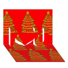 Christmas Trees Red Pattern I Love You 3d Greeting Card (7x5)
