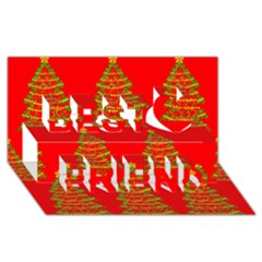 Christmas Trees Red Pattern Best Friends 3d Greeting Card (8x4)