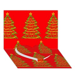 Christmas Trees Red Pattern Heart Bottom 3d Greeting Card (7x5) by Valentinaart
