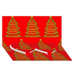Christmas Trees Red Pattern Twin Heart Bottom 3d Greeting Card (8x4) by Valentinaart