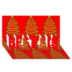 Christmas Trees Red Pattern Best Sis 3d Greeting Card (8x4) by Valentinaart