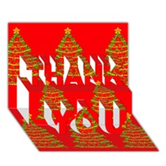 Christmas Trees Red Pattern Thank You 3d Greeting Card (7x5) by Valentinaart