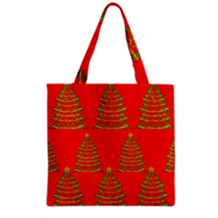 Christmas Trees Red Pattern Grocery Tote Bag by Valentinaart
