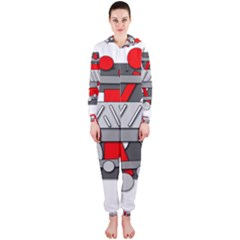 Gray And Red Geometrical Design Hooded Jumpsuit (ladies)  by Valentinaart