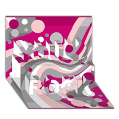 Magenta, Pink And Gray Design You Rock 3d Greeting Card (7x5) by Valentinaart