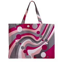Magenta, Pink And Gray Design Medium Zipper Tote Bag by Valentinaart