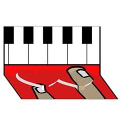 Piano  Twin Heart Bottom 3d Greeting Card (8x4)