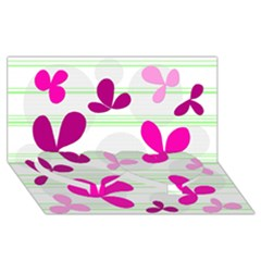 Magenta Floral Pattern Twin Heart Bottom 3d Greeting Card (8x4) by Valentinaart