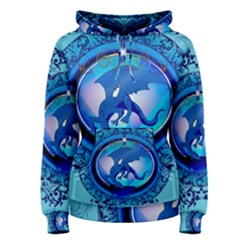 The Blue Dragpn On A Round Button With Floral Elements Women s Pullover Hoodie
