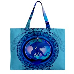 The Blue Dragpn On A Round Button With Floral Elements Zipper Mini Tote Bag by FantasyWorld7