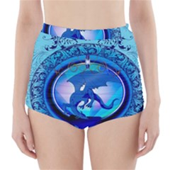 The Blue Dragpn On A Round Button With Floral Elements High Waisted Bikini Bottoms
