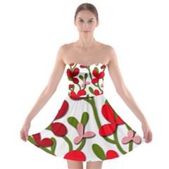 Floral Tree Strapless Bra Top Dress