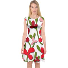 Floral Tree Capsleeve Midi Dress by Valentinaart