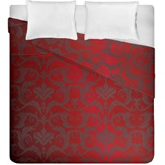 Red Dark Vintage Pattern Duvet Cover Double Side (King Size) by Zeze