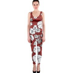 Cvdr0098 Red White Black Flowers Onepiece Catsuit by CircusValleyMall