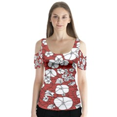 Cvdr0098 Red White Black Flowers Butterfly Sleeve Cutout Tee  by CircusValleyMall