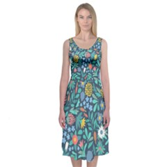 Summer Flowers Midi Sleeveless Dress by Mishacat