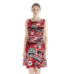 Agghh Pattern Sleeveless Chiffon Waist Tie Dress by AnjaniArt