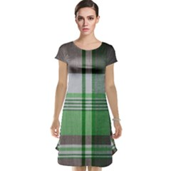 Plaid Fabric Texture Brown And Green Cap Sleeve Nightdress by Zeze