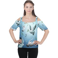 Animated Nature Wallpaper Animated Bird Women s Cutout Shoulder Tee by AnjaniArt