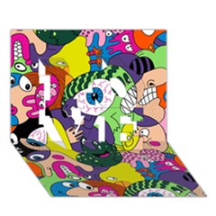 Another Weird Pattern Love 3d Greeting Card (7x5) by AnjaniArt
