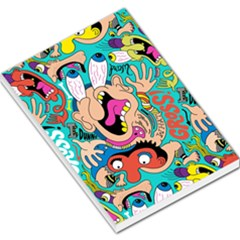 Cartoons Funny Face Patten Large Memo Pads by AnjaniArt