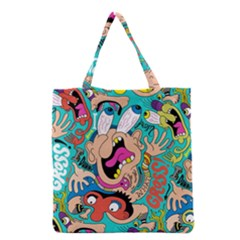 Cartoons Funny Face Patten Grocery Tote Bag by AnjaniArt