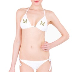 M Monogram Initial Letter M Golden Chic Stylish Typography Gold Bikini Set by yoursparklingshop