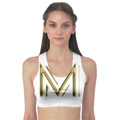 M Monogram Initial Letter M Golden Chic Stylish Typography Gold Sports Bra by yoursparklingshop
