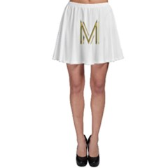 M Monogram Initial Letter M Golden Chic Stylish Typography Gold Skater Skirt by yoursparklingshop