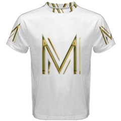 M Monogram Initial Letter M Golden Chic Stylish Typography Gold Men s Cotton Tee by yoursparklingshop