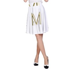M Monogram Initial Letter M Golden Chic Stylish Typography Gold A Line Skirt by yoursparklingshop