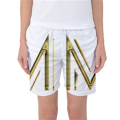 M Monogram Initial Letter M Golden Chic Stylish Typography Gold Women s Basketball Shorts by yoursparklingshop