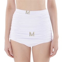 M Monogram Initial Letter M Golden Chic Stylish Typography Gold High Waisted Bikini Bottoms by yoursparklingshop