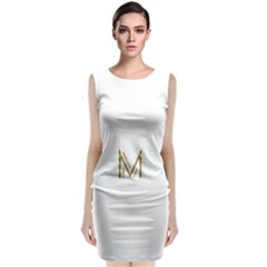 M Monogram Initial Letter M Golden Chic Stylish Typography Gold Classic Sleeveless Midi Dress by yoursparklingshop