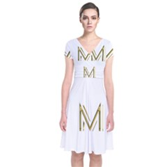M Monogram Initial Letter M Golden Chic Stylish Typography Gold Short Sleeve Front Wrap Dress