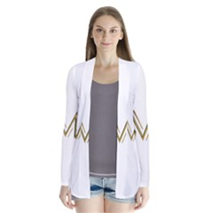 M Monogram Initial Letter M Golden Chic Stylish Typography Gold Drape Collar Cardigan by yoursparklingshop
