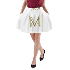 M Monogram Initial Letter M Golden Chic Stylish Typography Gold A-Line Pocket Skirt by yoursparklingshop