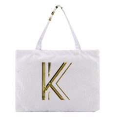 Monogrammed Monogram Initial Letter K Gold Chic Stylish Elegant Typography Medium Tote Bag