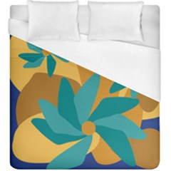 Urban Garden Abstract Flowers Blue Teal Carrot Orange Brown Duvet Cover (king Size) by CircusValleyMall