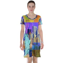 New York City The Statue Of Liberty Short Sleeve Nightdress by Zeze