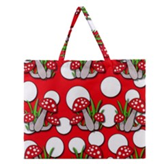Mushrooms Pattern Zipper Large Tote Bag by Valentinaart