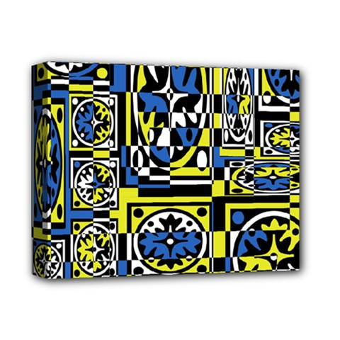 Blue And Yellow Decor Deluxe Canvas 14  X 11  by Valentinaart