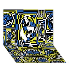 Blue And Yellow Decor Ribbon 3d Greeting Card (7x5) by Valentinaart